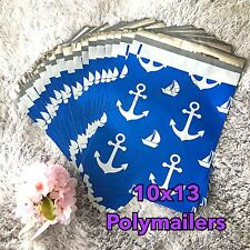 50 Designer Printed Poly Mailers 10X13 Shipping Envelopes Bags BLUE ANCHOR