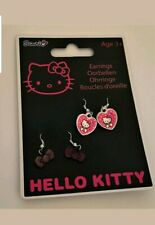 HELLO KITTY Pink Heart Bows Dangle Drop Earrings Pack of 2 Sets Kids Girls NEW