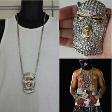 "MENS HIP HOP ICED OUT SILVER GOON SKI MASK PENDANT W/ 36"" FRANCO CHAIN NECKLACE"