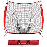 Baseball and Softball Practice Net 7 x 7ft Practice Hitting, Pitching, Batting