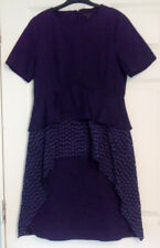COS Navy Blue Short Sleeve Peplum Style Cut Out Detail A Line Dress UK Size 10