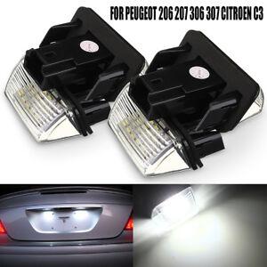 2x Led License Number Plate Light for Peugeot 206 207 306 307 407 Citroen    -+