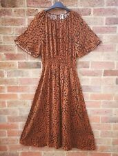 H&M FW2020 Rust Brown Animal Print Midi Short Bell Sleeve Dress size S 8 10 12