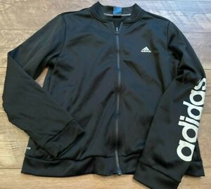 ADIDAS climaWARM Black White Athletic Casual Track Jacket Sweatshirt wmns Large