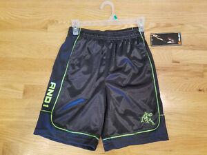 AND1 Boys Athletic Shorts L 10/12 Gray Green Basketball Elastic Waist Pockets