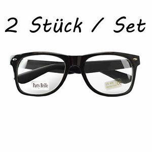 2 Stück Nerd Brille Clear Streber Schwarz  Hornbrille Atzenbrille ohne Stärke !!