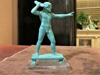 "Zeus Greek God Thunder Statue Figurine Bronze Color-Lucite Base 5 1/4"""