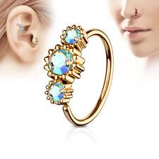 Rose Gold IP CZ Ear Helix Tragus Rook Snug Daith Hoop Nose Ring Piercing 20G