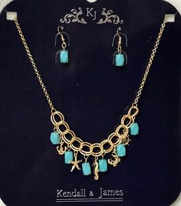 NEW Kendall & James Faux Turquoise Necklace & Pierced Earrings Set