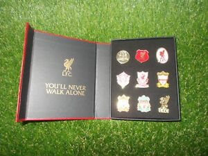 Liverpool LFC Crested 9pc Boxed Pin Badge Set