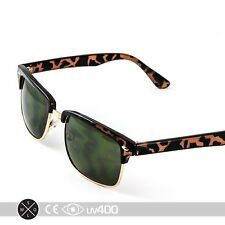 Tortoise Smoke Lens Square Half Frame Clubmaster Sunglasses Vintage Classic S264