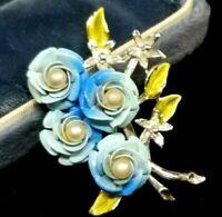 Vintage Blue Green Enamel Metal Faux Pearl 3D Roses Flowers Bouquet Brooch Pin