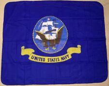 "Blanket Fleece Throw Military U S Navy emblem 50""x60"" NEW with protective sleeve"
