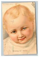 Vintage 1907 Postcard Cute Blue Eyed Baby - Baby's Habits Waiting for Daddy