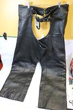 EXL Men's Black Leather Riding Chaps 4 XL EXL-607 Harley-Davidson Victory Indian