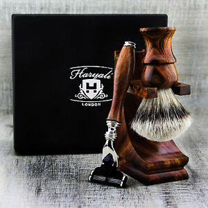 3 Pieces Wooden Shaving Set For Silver Tip Brush & 3 Edge Safety Razor + Stand