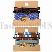 Men Women Mulitilayer Twisted Wrap Fish Hook Nautical Buddha Beads Bracelet Rope