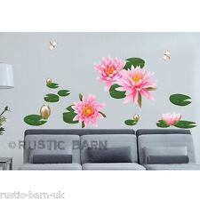 Hermosa Rosa Water Lily Pond libélula Decoración Para El Hogar Vinilo Arte Calcomanía Pared Adhesivo