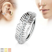 Leaf with CZ Surgical Steel Ear Cartilage Daith Tragus Helix Hoop Nose Rings