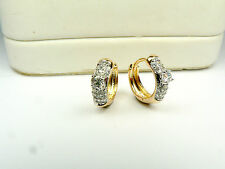 18ct real gold GF hoop earrings with simulated diamonds, weight 2.1g