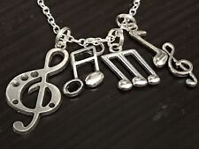 """Music Note Maracasite Mix D Charm Tibetan Silver with 18"""" Necklace B140"""