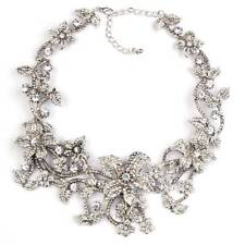 NEW ZARA ELEGANT CLEAR STONES FLOWERS LEAVES COLLAR NECKLACE - NEW