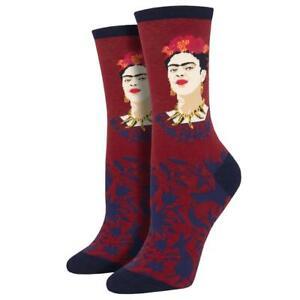 Socksmith Women's Crew Socks Fearless Frida Kahlo Red or Teal Novelty Footwear