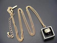 $18 Freedom at Topshop Fool's Gold Pyrite Square Pendant Necklace 2-Tone Metal