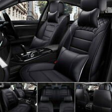 Premium PU Leather Car Seat Cover 5-Seats SUV Black Universal Cushion Front+Rear