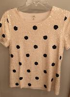 J.Crew Womens Small Blouse Sequin Top Polka Dot Cream Black Short Sleeves