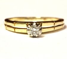 14k yellow gold .10ct SI2 H round diamond solitaire ring 2.4g estate vintage