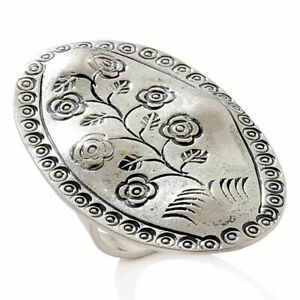 Karen Tribe Sterling Silver Collection Platinum Plated Floral Oval Ring 8