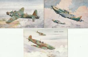 Three WW2  WELLINGTON Bomber Spitfire and Defiant Fighters  Aircraft  Postcards