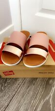 Fit Flops Ladies UK Size 4 Delta Slide Sandals, Dusky Pink & Rose Gold Brand New