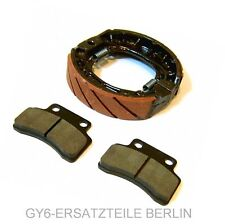 FRONT PADS REAR DRUM BRAKE SET PERFORMANCE RACING 105mm GY6 4STROKE SCOOTER VIP