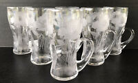 Antique Locke Art Poppy Juice Glasses With Handle Set Of 6 Circa 1900 Signed