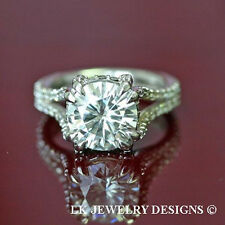 Round Micro Pave Wedding Engagement Ring 4.15 Ct Forever One Ghi Moissanite