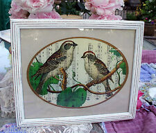 SHABBY VINTAGE WHITE WOOD FRAME CHIC BIRD PRINT SHEET MUSIC CHIC COTTAGE DECOR