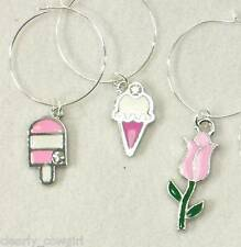 #5360 -- WINE BEVERAGE CHARMS SET OF 6,SUMMER PARTY THEME HANDMADE -VERY SWEET!