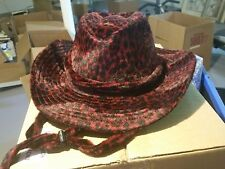 New in Box - St. John's Bay Red Leopard Print Cowboy Hat - One size