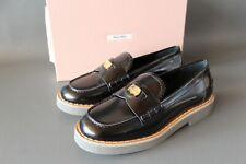 MIU MIU Damen Loafer EUR 39.5 Schwarz Shoes Made in Italy Freizeit NEU
