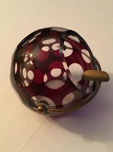 American Corp Cut Crystal Hand Cut Cigar Ashtray Dome Globe Ball Coin Dot Red