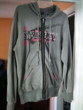 Oakley Mens Full Zip Hoodie Jacket Sweatshirt Large Gray Pink Double Sided