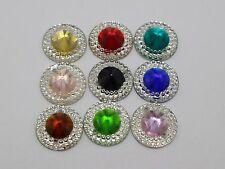 100 Mixed Color Acrylic Flatback Round Rivoli Sewing Rhinestone Beads 14mm