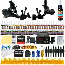 Complete Tattoo Kit Rotary Tattoo Machine Set Inks Power Supply Needles TK255
