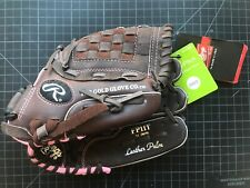 "Rawlings Girls Fast Pitch Softball FP11T 11"" Black & Pink Leather Glove"