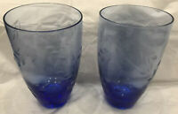2 Very Pretty Vintage Matching Etched Blue Vases * Great Condition *