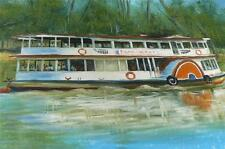 VINTAGE OIL PAINTING ON BOARD AUSTRALIAN PADDLE BOAT P.S.MELBOURNE PICTURE