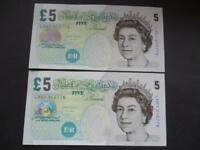 2012 PAIR OF SALMON UNCIRCULATED FIVE POUND NOTES ELIZABETH FRY,  DUGGLEBY B407.