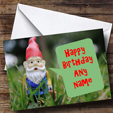 Garden Gnome Personalised Birthday Greetings Card